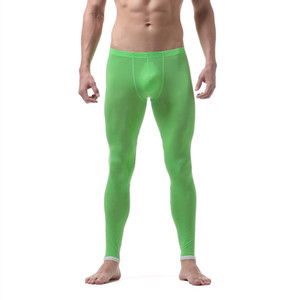 new men long johns warm pants Thin section nylon transparent sexy gay underwear men tight legging long Johns size XL