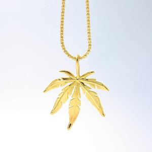 2018 New Gold-Farbe Blatt Charme-Halskette Ahornblatt-hängende Halskette Hip Hop Schmuck Großhandel