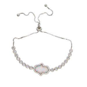 925 prata esterlina presente de noiva de alta qualidade mão turca hamsa charme mão opala pulseira de mão de tênis de prata delicada para as mulheres