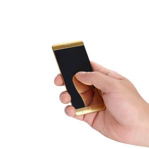 Moda Unlocked Ultrathin kredi kartı cep telefonu LED dokunmatik ekran metal gövde MP3 çift sim kart FM bluetooth çevirici mini cep telefonu