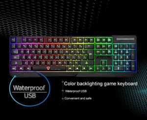 À prova d 'água MotoSpeed K70L Ergonômico 7 LED Colorido Backlight USB Com Fio Gamer Gaming Keyboard USB Alimentado para Desktop Laptop Teclado Gamer