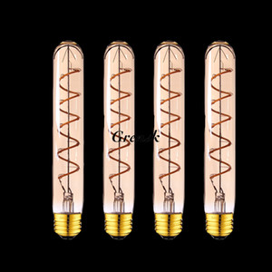 Gold Tint T30 185mm Tubular Spiral LED Filament Bulb Edison Flexible Lamp 3W 2200K E26 E27 Base Decorative Pendant Lamp Dimmable