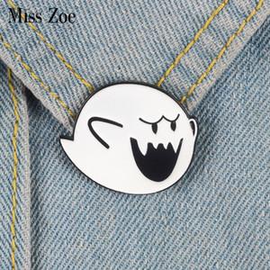 La signorina Zoe Boo pin fantasma dello smalto Tasto Super Mario spilla Bag Abbigliamento Lapel Pin Badge Cartoon Classic Video regalo dei monili di gioco per gli amici