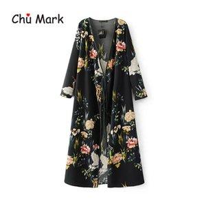 Chu Mark mujeres blusas de primavera de manga larga estampado floral de punto abierto kimono femenino más el tamaño de las camisas cardigan femenino 904101