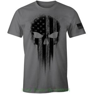 Bandera americana militar de los EEUU Camiseta negra de los hombres patrióticos del cráneo de la camiseta Camisetas de manga corta