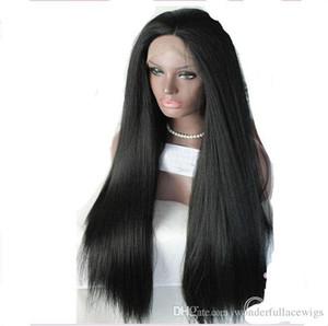 Sentetik Dantel Ön Peruk Düz Yaki Yan Kısmı Ipeksi Isıya Dayanıklı Doğal Saç Çizgisi Siyah kadın Dantel Ön L Kısmı Monofilament
