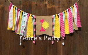 New Sunshine 1st 2nd Birthday Highchair Trona Banner Garland One Pink Aqua Amarillo Limonada Bunting Cake Smash Photo Props