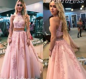 2018 Blush Two Pieces Prom Vestidos Jewel Hollow Back Apliques Sash con cuentas abiti da ballo Vestido largo de regreso a casa Vestidos de fiesta por la noche