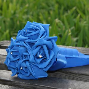 12 Couleurs Coloré De Mariage Fleurs Décoration De Demoiselle D'honneur Artificielle Bouquet De Mariée Perles De Fleur Perles Mariée Tenant Des Fleurs CPA1578