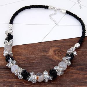 Catenina a corda Collana girocollo Donna Collana pendenti in cristallo fiore pendenti Bijoux lunghi girocolli Gioielli moda