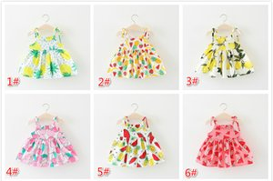 2018 frutas infantis verão impresso estilingue vestido de praia saia curta nova menina do bebê cor pura multi vestido de abacaxi sem mangas limão