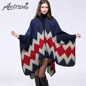 [AETRENDS] verdicken Winter Cashmere Feel Poncho Decke Frauen gestreiften warme Ponchos und Capes Z-3152