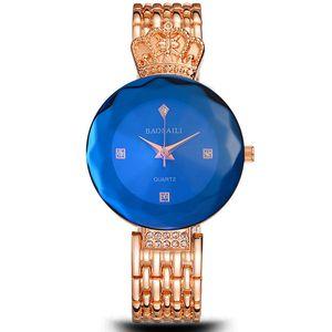 Женщины Алмазный Золотая корона часы Роскошные моды Кварцевые часы одежда дамы платье часы горный хрусталь Огранка поверхность наручные часы