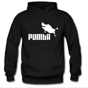 새로운 PUMBA 인쇄 양털 후드 남자 전체 소매 재킷 가을 겨울 패션 맨 Street Tracksuit 스웨터 소년 풀 오버