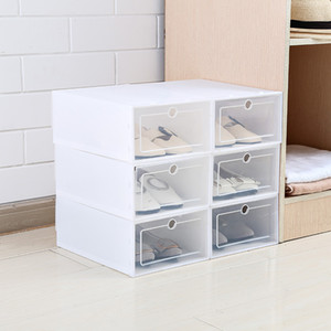 6PCS/Set Thickened flip shoes transparent Drawer Case Plastic Shoe Boxes Stackable Box storage box shoe storage organizer