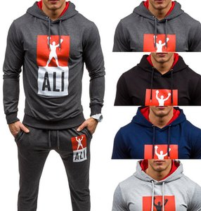 Sweatshirt Sportswear-Set Jogging-Kleidung Herren-Trainingsanzüge Sport-Fitness-Set Europa und Amerika Herren Box-Print mit Kapuze Kapuze