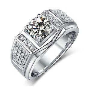 Choucong Solitaire Bijoux Hommes Diamant Blanc 10KT Or Blanc Rempli Bague De Fiançailles De Mariage Sz 7-13 cadeau