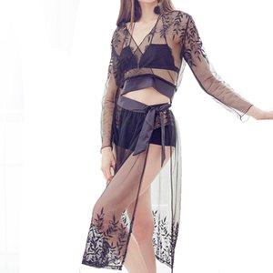 2018 투명한 시폰 섹시 잠옷 여성 속옷 목욕 가운 잠옷 긴 소매 탑 Maxi Skrit Nightgown Sets
