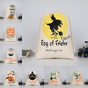 8 Tasarım Cadılar Bayramı şeker çanta Büyük Kanvas çanta pamuk İpli Çanta Ile Kabak şeytan örümcek Yortusu Hediyeler Çuval Çanta 36 * 48 cm çocuk oyuncakları