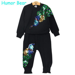 Humor Bär Mädchen Kleidung Sets Winter Wolle Sportswear Langarm Pfau Rose Floral Gestickte Pailletten Kinder Kleidung Sets