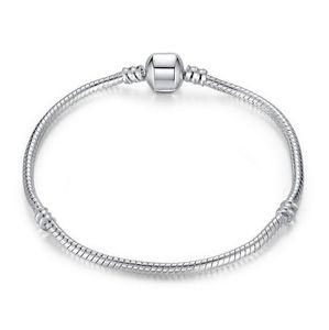 Стерлингового серебра 925 покрытием браслеты 3 мм змея цепи Европейский бисер подходит pandora браслет ожерелье цепь без логотипа 16 см-45 см
