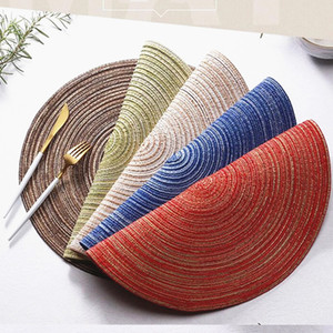 Insulation Placemats Colorful Round Place mats for Kitchen Dining Table Heat Insulation Non-Slip Washable Place Mat