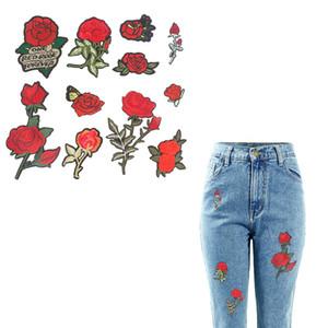 Stickerei Rose Tuch Patches für Jeans 3D Nähen Blume Serie Aufkleber Patch DIY Wärmeübertragung Aufbügeln Applique 10 Stück