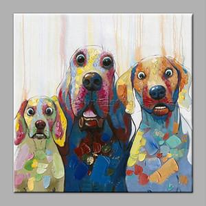 Handgemalte HD Druck Moderne Abstrakte Tier Kunst Ölgemälde hund, Hauptwanddekor Auf Leinwand A08