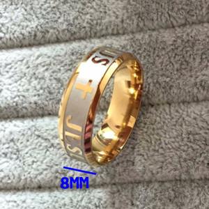 جودة عالية كبيرة الحجم 8 ملليمتر 316 التيتانيوم الصلب الفضة الذهب اللون يسوع الصليب إلكتروني المقدس الزفاف الفرقة عصابة الرجال النساء
