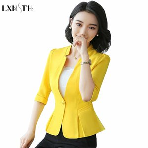 LXMSTH S-3XL Women Blazers And jackets 2018 Spring Summer Solid Slim Blazer Feminino Plus Size Fashion Ladies Office Coat Short
