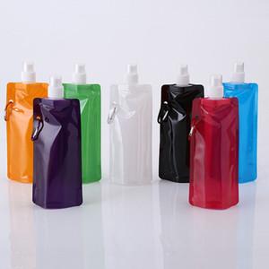 neue Faltbare Wasserflasche mit Karabinerhaken Flache Trinkflasche Weiche Feldflasche im Freien Faltbarer Trinkbeutel BPA-frei