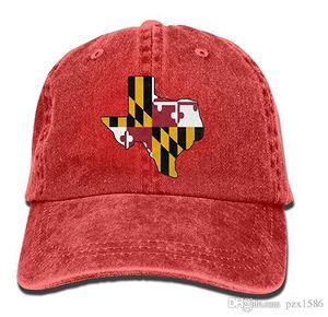 pzx @ Baseball Cap für Herren Damen, Texas Kontur Maryland Flagge Unisex Baumwolle Einstellbare Denim Cap Hut Multi-Color optional