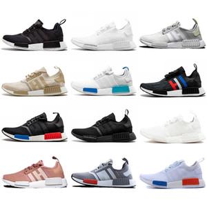 Toptan NMD R1 Primeknit Üst Kalite Kutusu ile Ayakkabı Klasik Renk Mesh Üçlü Beyaz Krem Salmon Atletizm Sneakers ABD 5-11,5 Running