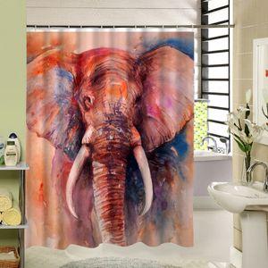 NEW Design High Quality Colorful Big Art Elephant Print Shower Curtain 3D Polyester Fabric Waterproof Mildewproof Bathroom Curtain