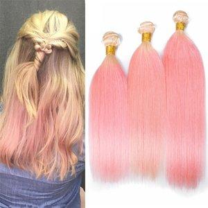 2 тон 613/Pink Ombre прямые волосы связки 8A блондинка и розовый Ombre перуанских Виргинских человеческих волос плетет расширения 300Gram
