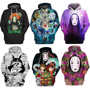 Hoodie camisola trajes de halloween Spirited Away 3d Imprimir hoodies Homens mulheres moletom com capuz Camisola Chihiro / Nenhum Homem Rosto / White Dragon S-5XL