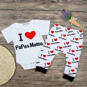 2018 신생아 옷 세트 소녀 의상 I LOVE PAPA MAMA Romper + Pants 2PCS 어머니 날 아버지의 날 의상 어린이 의류 세트