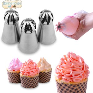 3PCS Russian Spherical Ball Stainless Steel Icing Piping Nozzle Pastry Tips Fondant Cupcake Baking Tip Tool Sphere Shape Cream