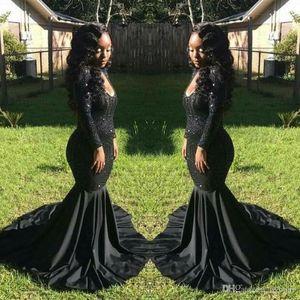 2017 sexy elegante barato negro niña vestidos de baile sirena vestidos de noche vestidos formales de manga larga con lentejuelas vestido de fiesta