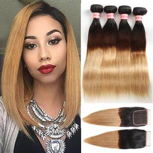 Ombre Cheveux Avec Fermeture Foncé Root Honey Blonde Paquets De Cheveux Humains Bundles Brésiliens Vierge Raides Cheveux Raides Avec Fermeture 1B / 27 1B / 4/27