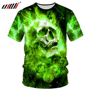 Männer Casual T-Shirts Harakuku 3D-Druck Grüne Flammen-Schädel-T-Shirts Hombre Bodybuilding Fitness Pullunder Unisex T Shirts