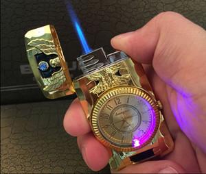 2 일 제트 토치 쿼츠 시계의 담배 라이터 부탄 가스 리필 방풍 블루 스코치 불꽃 금속 주방 독수리 도마뱀 벨트 금
