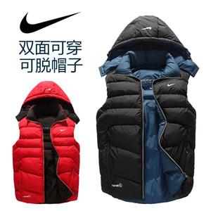 Sıcak Marka erkek Yelekler Casual Kış Kalın Pamuk Yastıklı Ceketler Marka Erkekler için Moda Geri Dönüşümlü Katı Renk Yelek Moda Giyim spor Ceketler