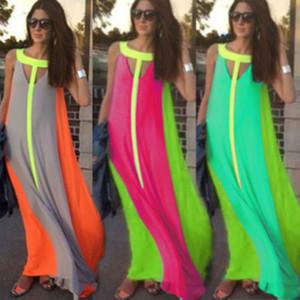 Fahion Chiffon Bright Color Patchwork Casual Dresses Sleeveless Sundress Loose Long Dress Cheap Women Summer Boho Maxi Dresses S-XL