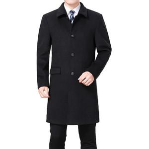 2018 New Men Woolen Coat Winter Wool Cashmere Coat Pea Men Wool Overcoat Long Jacket Blend Palto Erkek Mont Kaban