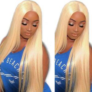 613 # blonde gerader körperwelle vorne spitzeperücken 100% menschliche Haarperücken für Frauen vorgeptet mit Babyhaar