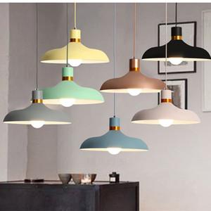 Nordic luces colgantes Macaron de aluminio LED lámpara colgante colorida Hanglamp para sala de estar cocina luz accesorios de techo