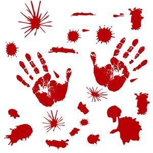 4 أنماط هالوين ملصقات الحائط دموي بصمة بصمات الشارات الرهيبة شريط المنزل جدار الباب ملصقا حزب اللوازم