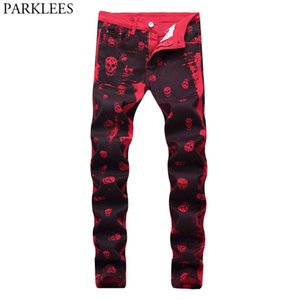 Night Club Pencil Jeans Men Red Skull Print Punk Style Denim Jeans Homme Hiphop Hi Street Skinny Pants Spijkerbroek Mannen