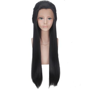 ZhiFan lace front wigs for white women 24inch black lace wigs bangs straight lace front wig cheap princess soft looks real